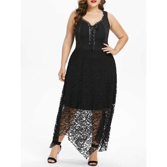 8725165df11ab Plus Size Goth Punk Lace-Up Corset Dress w  Lace